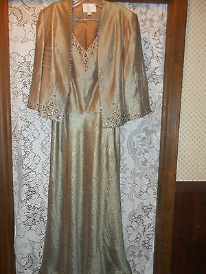Mother of the bride dress with jacket, size 12, champagne color