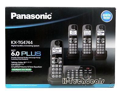 Panasonic KX-TG4744B DECT 6.0 Cordless Phone with Answering System, Black @NEW@