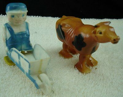 2 Vintage Ramp Walkers Cow And Old Man With Wheelbarrow