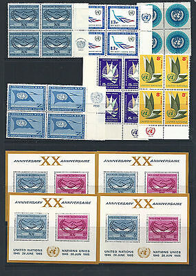 United Nations Postage Stamps Range in Blocks of 4  & M/S Mint Never Hinged 11