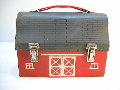 Vintage Red Barn Dome Roof 1950's Lunch Box Pail