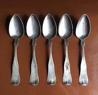 Five 19th-Century American Coin Silver Spoons by Jones, Shreve, Brown & Co