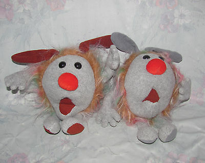 Vintage Big Comfy Couch Dust Bunnies Set 2 Fuzzy Wuzzy - Cuddly Plush Toys