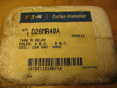Cutler Hammer D26MR40A Type M Relay NEW OLD STOCK