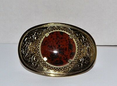Western Style Polished Agate Belt Buckle Gold Color New old Stock