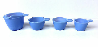 Set Of 4 Vintage Jeannette Delphite Blue Measuring Cups Depression-Era Free Ship
