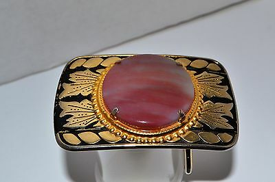 Western Belt Buckle Polished Agate with Two Tone Gold and Black Metal  Nice!