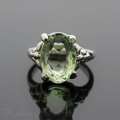 14Mm Light Green Sterling Silver Plated Cocktail Dress Womens Ring Size 7 N