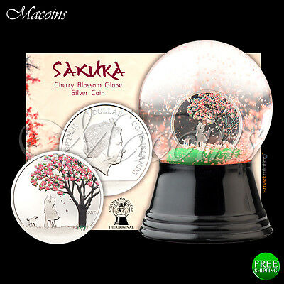 Cherry Blossom Snow Globe Coin 2017 Cook Islands 999 Silver