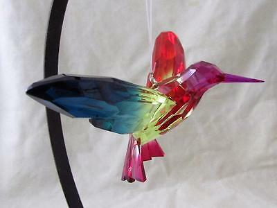 Hummingbird Crystal Expressions Acrylic Sun Catcher Rainbow Blue Red Free Ship