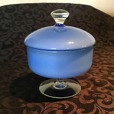 Vintage Blue Art Glass Lolly Dish With Lid