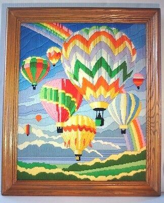 Vintage Hot Air Balloon Embroidered Crewel Finished Framed Tapestry Wall Hanging