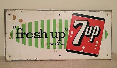 Fresh Up with 7up Metal Sign Stout Sign CO Vintage Advertising