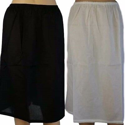 NEW Womens HALF SLIP 100% COTTON White Beige Black Skirt Size 12 14 16 18 20