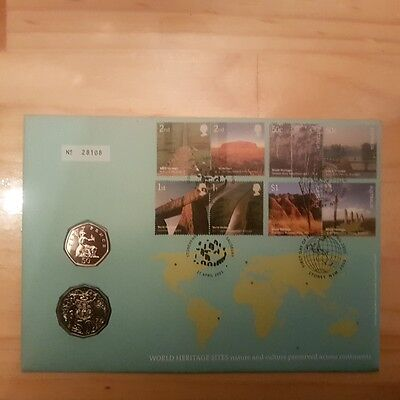 2005 UNC 50c WORLD HERITAGE SITES PNC