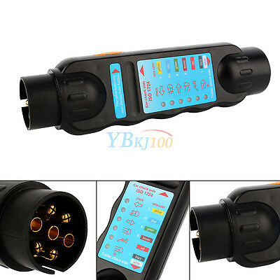 7Pin Towing Trailer Tow Bar LED Light Lamp Wiring Circuit Tester Plug&Socket Hot