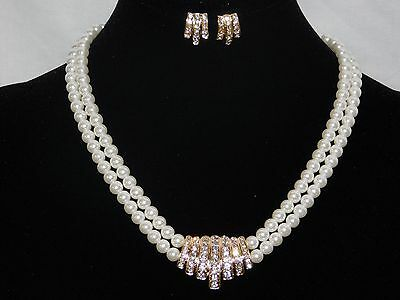 Bridal Wedding 2 Row Gold W Ivory Pearl, Clear Rhinestone Necklace, Earrings Set
