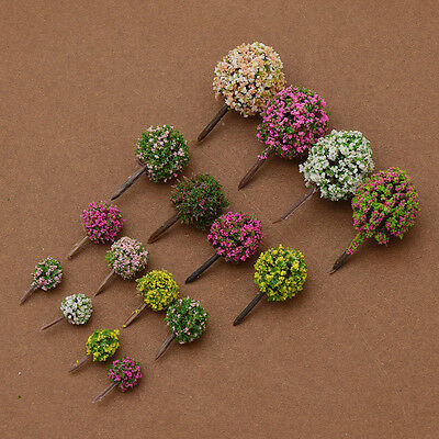 30pcs Mix Color Flower Ball Trees Train Garden Park Road Layout Scenery Diorama