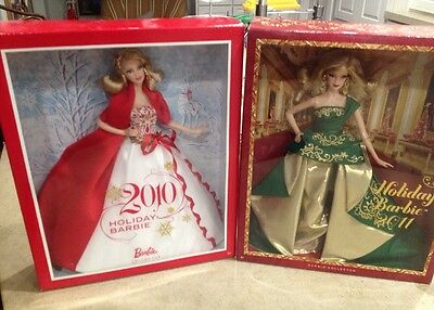 LOT of 2 Holiday Barbies 2010 & 2011.  New In Box!