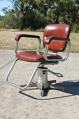 Vintage Antique Barbers Chair Chrome Aluminum