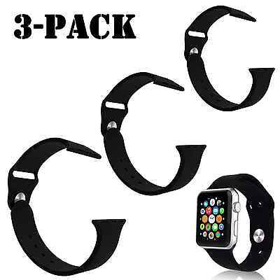 3-Pack Original 42mm black Replacement Genuine Sport Band for Apple Watch iWatch