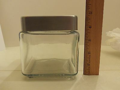 Anchor Hocking Glass Square Storage Canister w/ Metal Lid