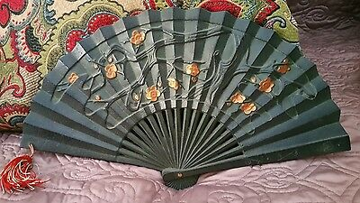 Heavy  vintage Japanese cast iron fan with cherry blossoms