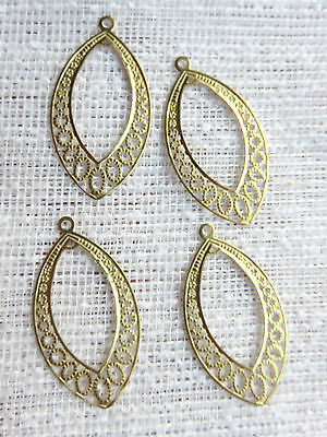 Filigree 4 x Gold Plate Pendant Jewellery Connectors Earring Necklace