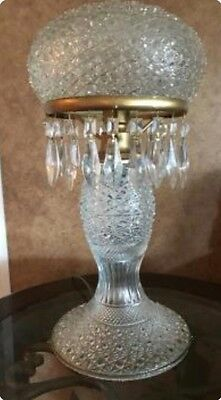 large vintage/antique cut crystal lamp