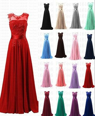 Chiffon Lace Evening Formal Party Ball Gown Prom Bridesmaid Dress Size 6~18 Long