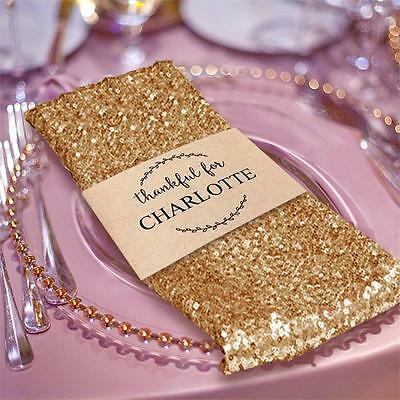 """5 GOLD SEQUINED 20x20"""" Wedding NAPKINS Party Table Linens Catering Supply"""