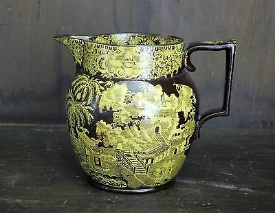 Pearlware chinoiserie yellow transfer printed willow jug C1815