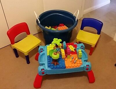 Mega Blocks 200 + Pieces Mega Blocks Table, Chairs And Big Blue Storage Tub