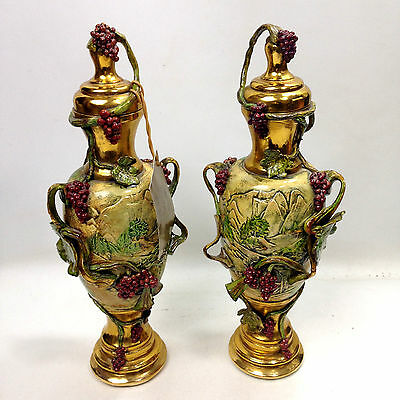 Pair of Ornate Gold VENETIAN Lidded URNS Original Handcrafted by Lida Bruscino