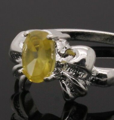 Birthday Bow Sterling Silver Plated Citrine Yellow Cz Ladies Girls Ring Size 7 N