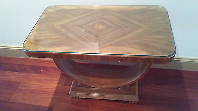 Antique Art Deco U Shape Side Table With Thick Glass Top Cover