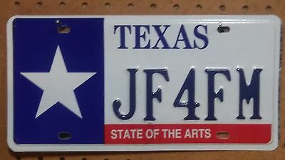 Texas State of the Arts Metal License Plate ~ JF4FM