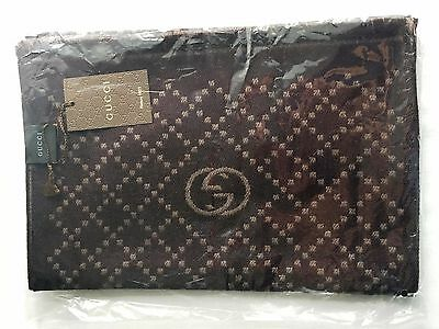 NWT Authentic GUCCI Men Half GG & Diamante Logo Reversible Wool Muffler Scarf