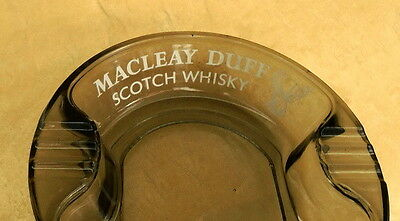 """Early Tinted Glass Bar Ash Tray """"macleay Duff"""" Made In Great Britain"""