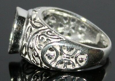 925 Silver Sterling Semi Mount Ring Art Deco Retro 11X9 mm Oval Cabochon Ring
