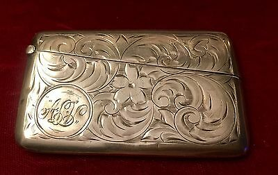 Antique Sterling Silver Chased  Calling Card Case