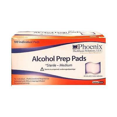 NEW Phoenix Healthcare Alcohol Prep Pads Sterile Medium 100ct Latex-Free