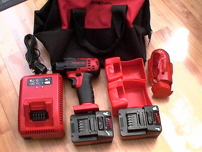 """Snap On Ct8810B Cordless 18V 3/8"""" Drive Impact Gun 2 Batteries Charger And Case"""