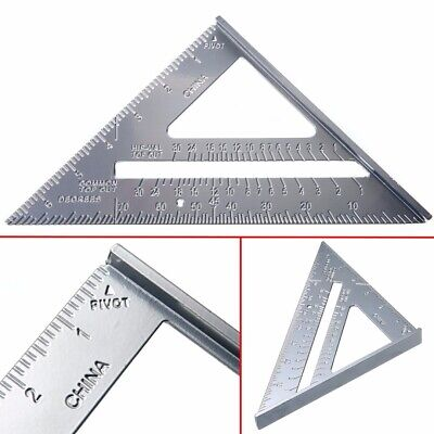 "7"" Aluminum Carpenter Measuring Square Speed Triangle Ruler Protractor Miter"