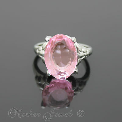 14Mm Baby Pink Sterling Silver Plated Cocktail Dress Womens Ring Size 5.5 K