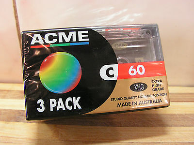 3 Pack ACME Blank Cassette Tapes, 60 Min Tapes, Brand New & Sealed