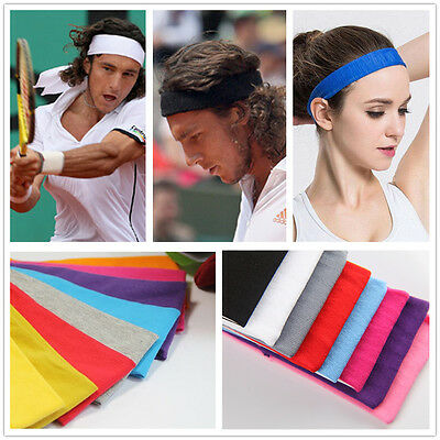 Sports Yoga Gym Stretch Cotton Headband Sweatband Head Hair Band Women Men Girls