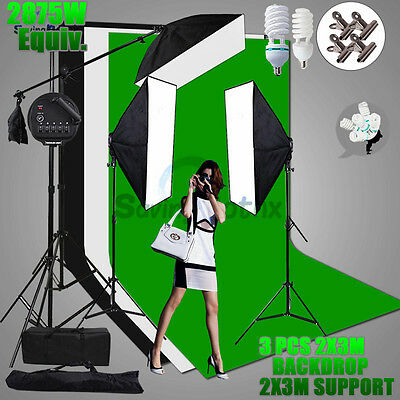 3 2X3M Backdrop Stand SET+2875W Photo Softbox Continuous Lighting Boom Arm Kit