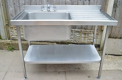 Stainless Steel Single Bowl Kitchen Sink Unit Commercial With Taps and Drainer