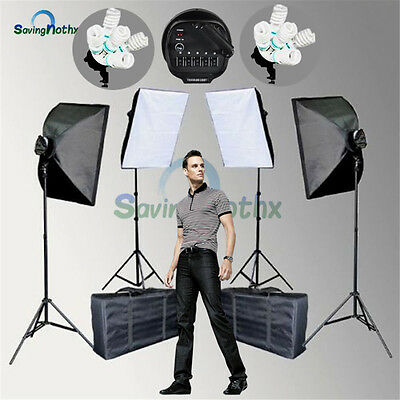 5 HEAD Photography Softbox Studio Continuous Lighting 4XSoft Box Light Stand KiT